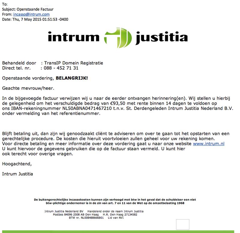 Facturen 'Intrum Justitia' bevatten malware