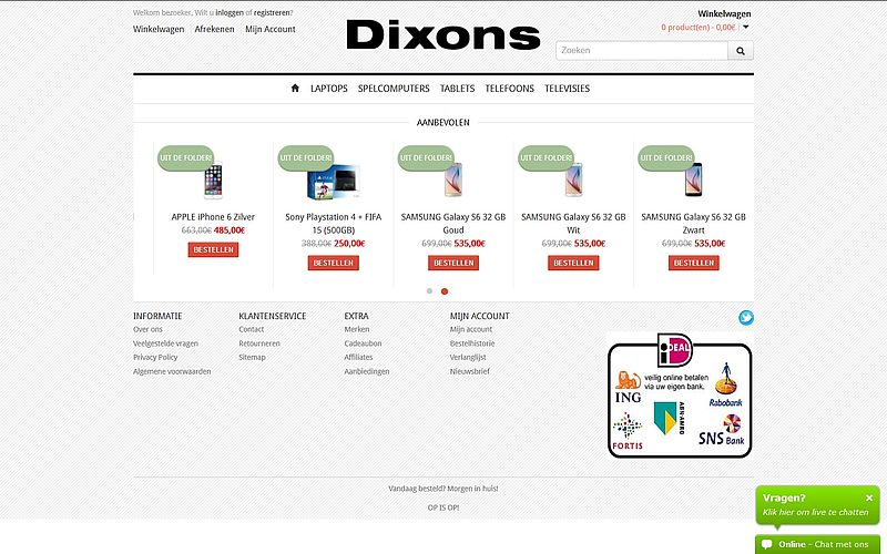 'Doe geen aankopen bij www.dixons.cf'