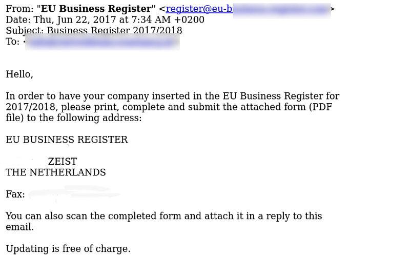 Abonnement aangesmeerd via e-mail EU Business Register