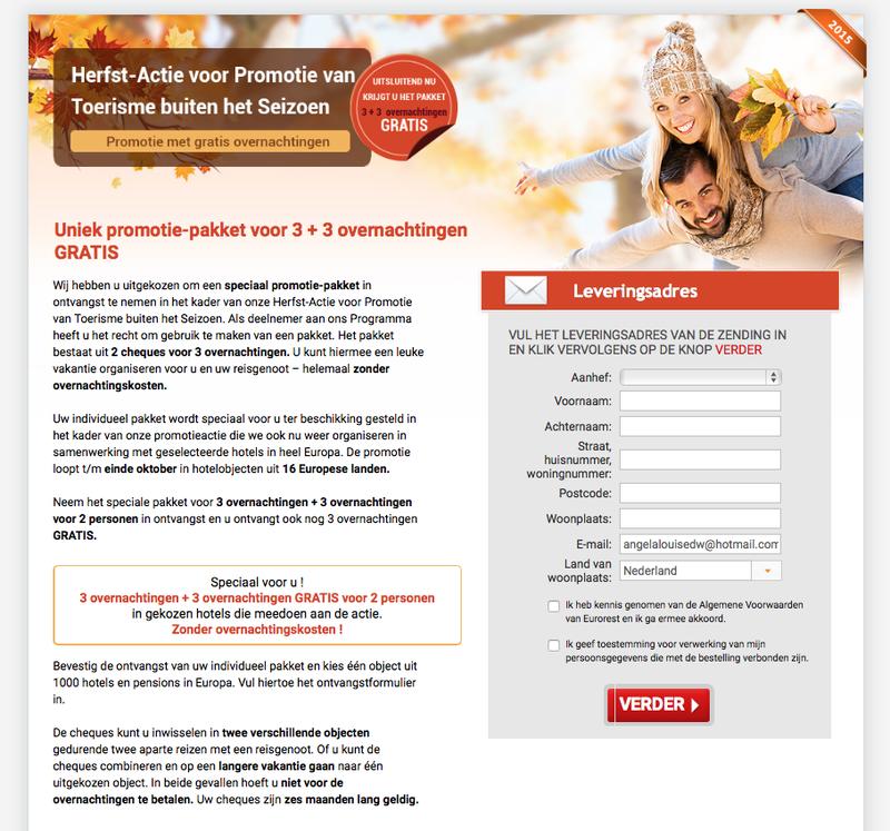 Pas op voor mail over hotelreservering