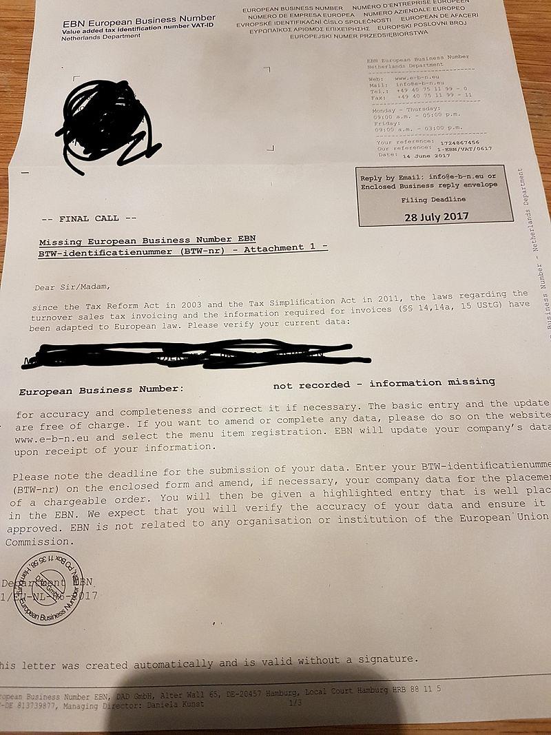 Pas op voor brief European Business Number