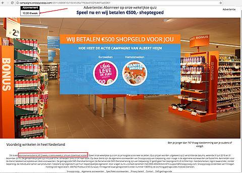 Misleidende winactie: 'Albert Heijn cadeaukaart'