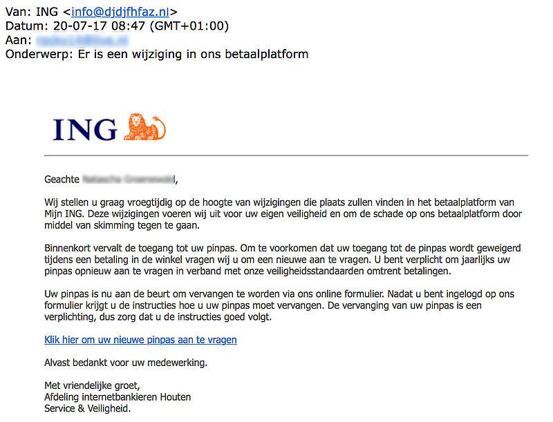 Fraudeurs sturen gepersonaliseerde e-mail uit naam ING