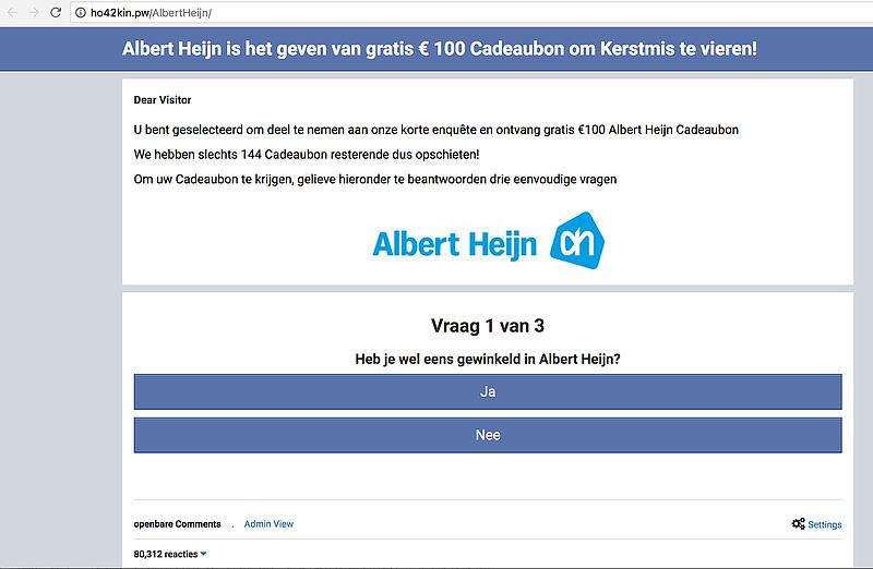 Vals Facebook-bericht 'Albert Heijn' over kerstcadeaubon