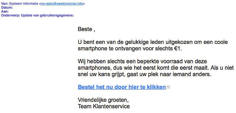 Misleidende winactie 'Apple': smartphone voor een euro