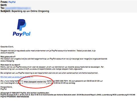 Kijk uit voor phishingmail 'PayPal'