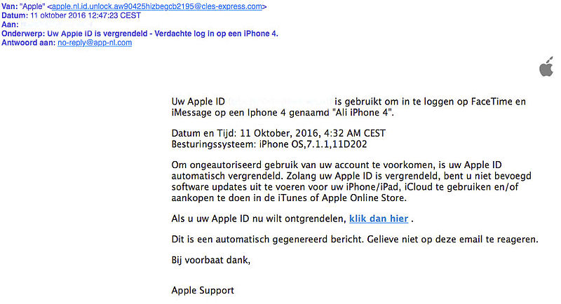 Phishingmail over vergrendeling 'Apple ID'