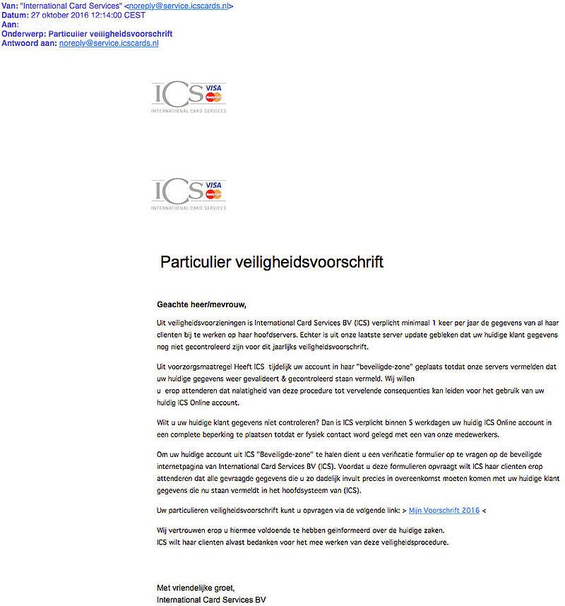 Valse e-mail 'ICS' over bijwerken gegevens