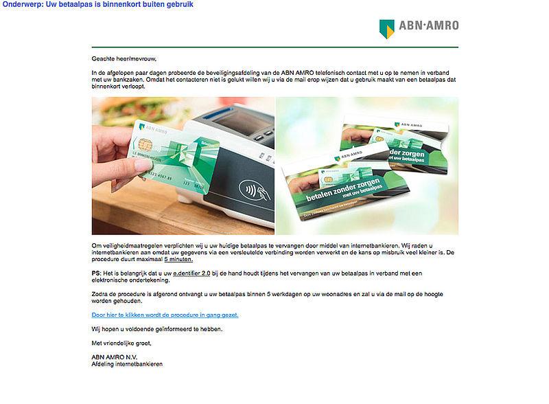 Waarschuwing voor phishingmail 'ABN AMRO'