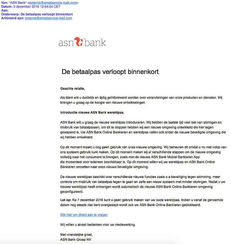 Criminelen sturen phishingmail 'ASN Bank'