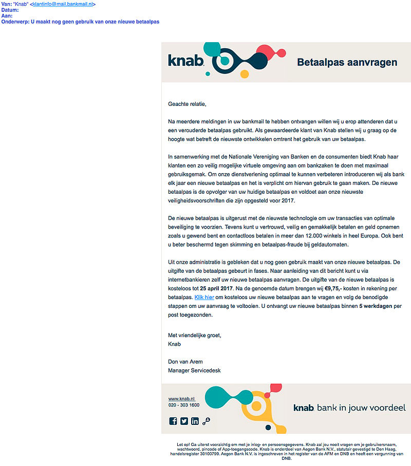 E-mail van 'Knab' over aanvraag nieuwe pas? Weg ermee!