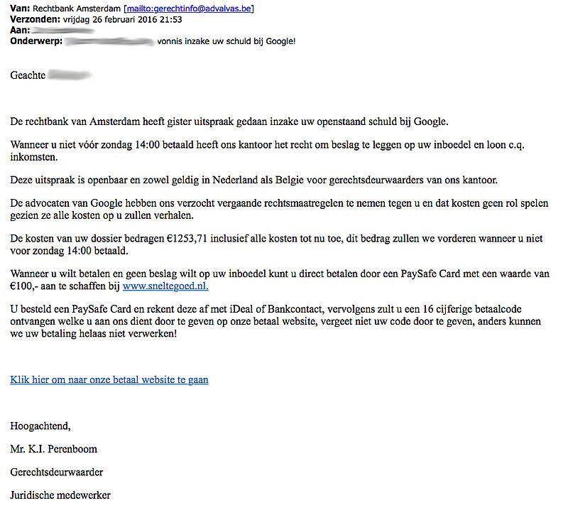 'Vonnis inzake uw schuld bij Google'