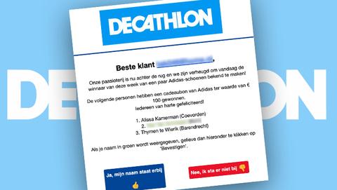 Trap niet in 'Decathlon'-mail over gewonnen schoenen van Adidas