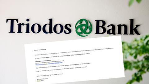 Let op: spookincasso van 'Triodos Bank' in omloop