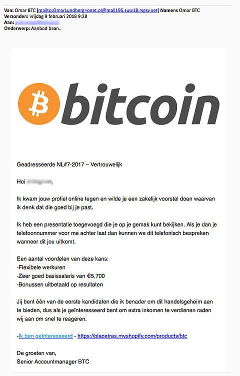 Ga niet in op mail over 'The Bitcoin Code'