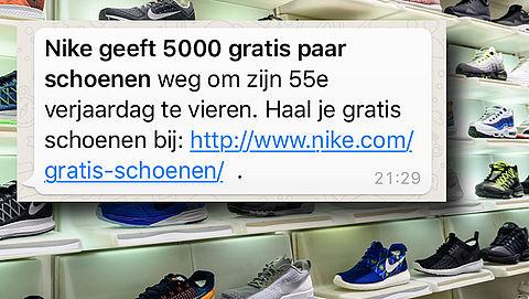 Let op! Bericht over gratis Nike schoenen is nep