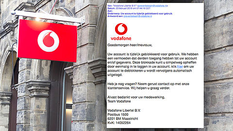 Bericht 'Vodafone' over geblokkeerd account is phishing