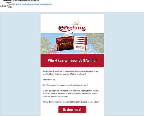 Valse winactie: 'Win kaarten voor de Efteling'