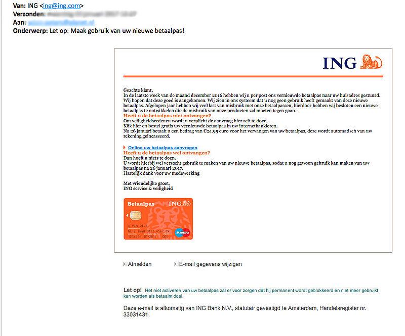 Valse E Mail Over Betaalpas Ing Opgelicht Het