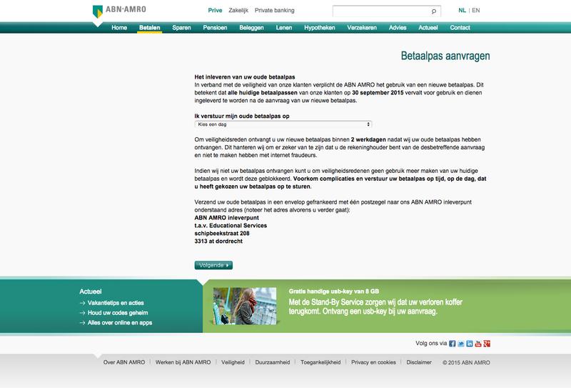 Valse e-mail ABN AMRO: 'betaalpas moet vervangen worden'