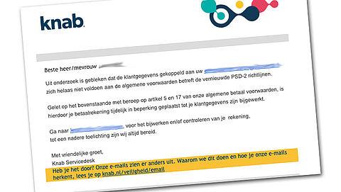 Knab-rekening geblokkeerd vanwege nieuwe PSD2-richtlijnen? Trap er niet in!
