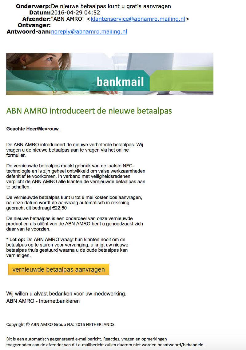 Nieuwe betaalpas 'ABN AMRO' is onzin