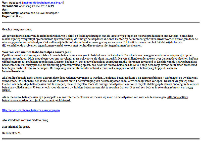 E-mail 'Rabobank' over pas opsturen is vals!