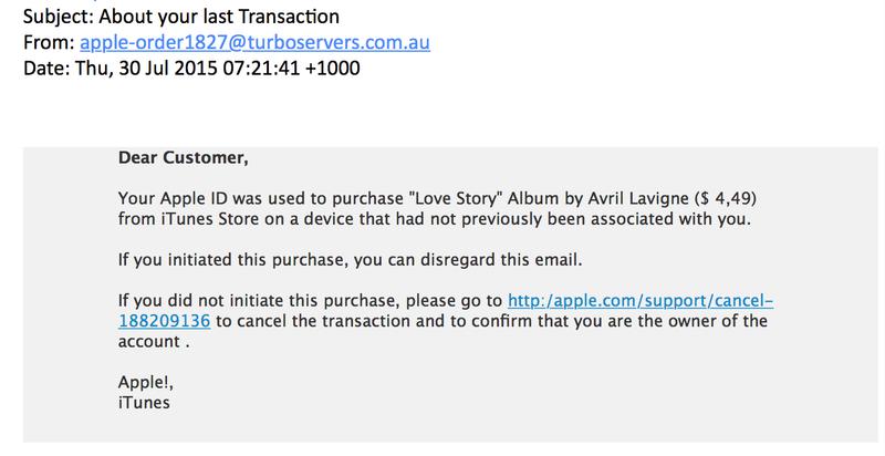 Valse mail Apple: 'About your last transaction'