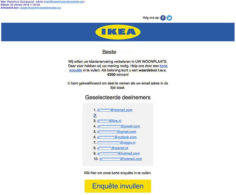 Valse e-mail 'IKEA' over winactie