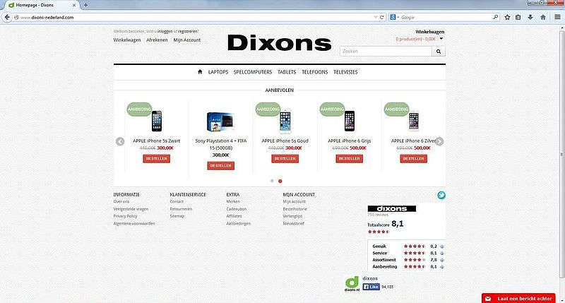 'Dixons-nederland.com misbruikt gegevens Dixons'