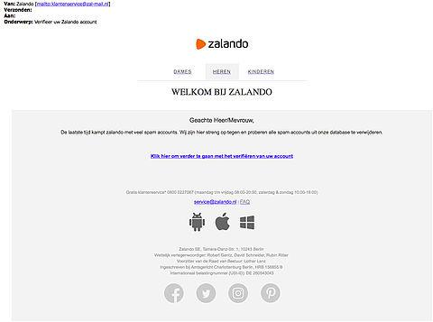 Valse e-mail uit naam Zalando in omloop