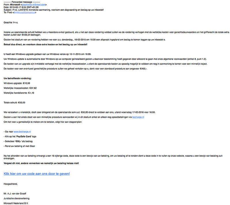 Let op: opnieuw nep-aanmaning Microsoft
