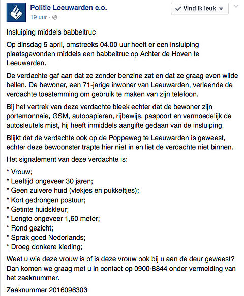Politie Leeuwarden waarschuwt voor babbeltruc
