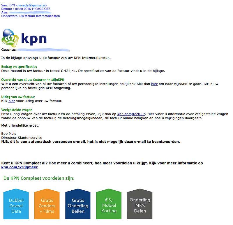 Bijlage mail 'KPN' bevat virus
