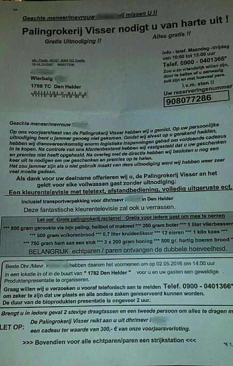 Politie waarschuwt voor brief 'Palingrokerij Visser'