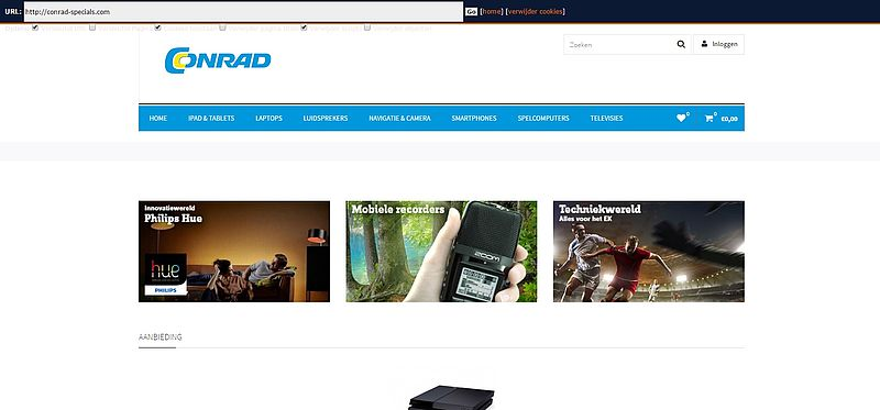 'Nog een nepwinkel die gegevens Conrad misbruikt: conrad-specials.com'