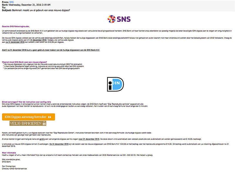 Valse mail 'SNS' over herstellen account