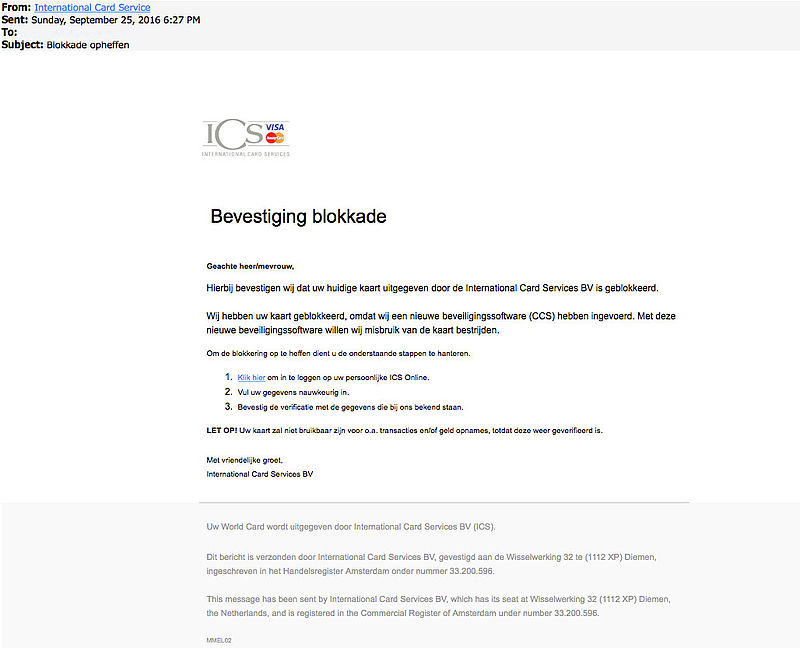 'Bevestiging blokkade' ICS is phishing