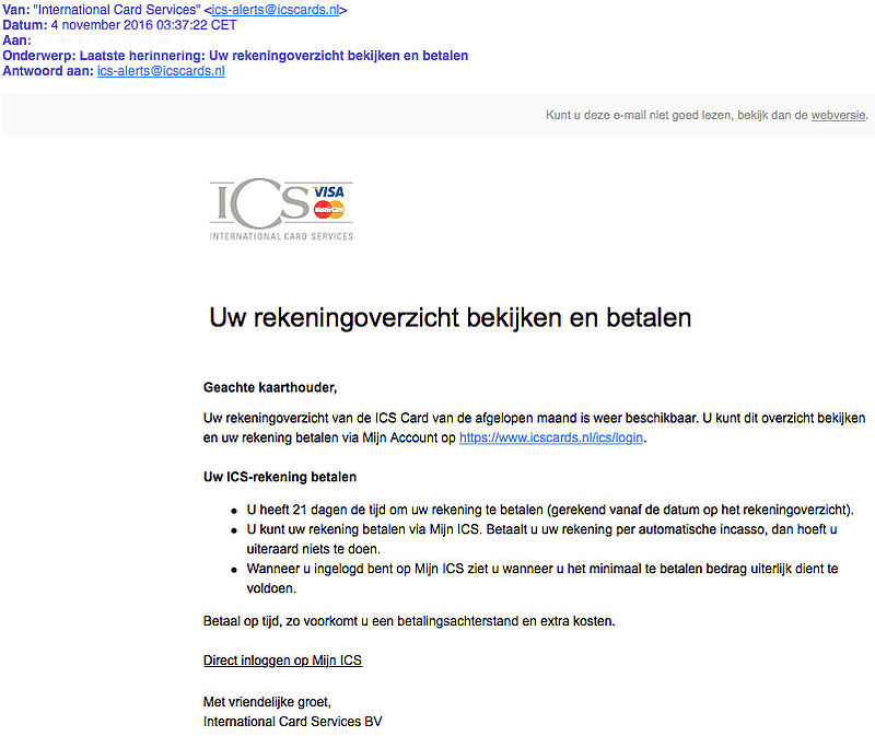 Phishingmail 'ICS' over rekeningoverzicht