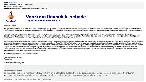 'Rabobank'-mail over Rabo WereldPas is vals