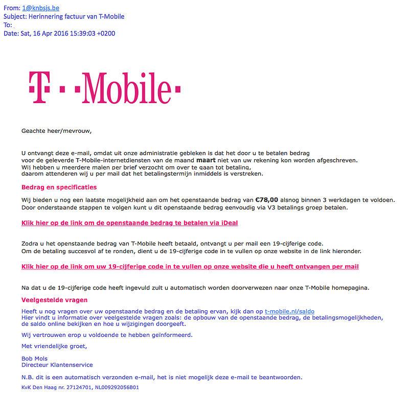 T-mobile waarschuwt voor phishing e-mails