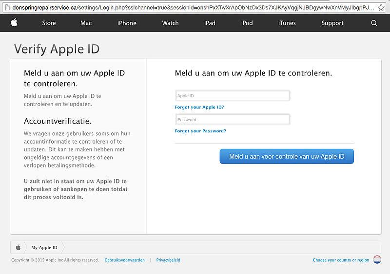 Phishingmail: 'Uw apple id'