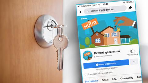 Dewoningzoeker.nu biedt via Facebook niet-bestaande huurwoningen aan, waarschuwt de politie
