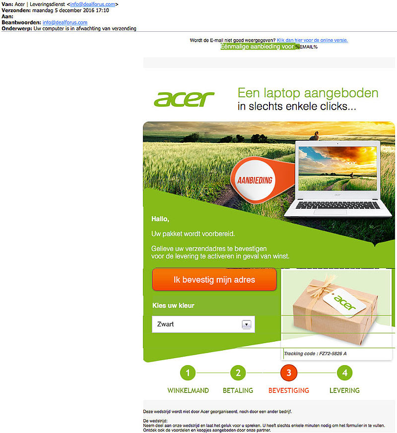 Valse e-mail 'Acer' over verzending laptop