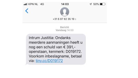 Massaal nep-sms verstuurd namens incassobureau 'Intrum Justitia'
