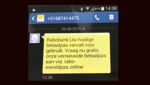 Trap niet in valse sms van 'Rabobank'