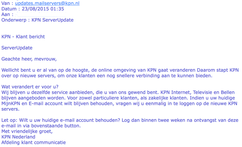 Phishing: 'KPN ServerUpdate'
