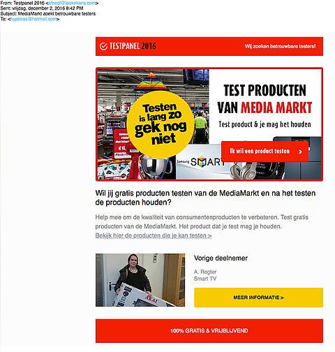 Misleidende e-mail over testen producten Media Markt
