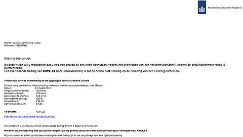 Let op! E-mail met 'CJIB' boete is nep