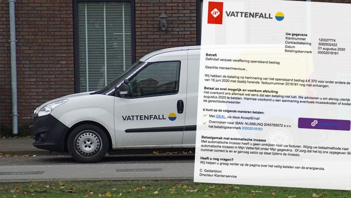Overtuigende spookfactuur van 'Vattenfall' met betalingskenmerk 00002018161 in omloop